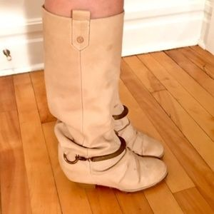 Buttery-soft leather high heel slouch boots 9